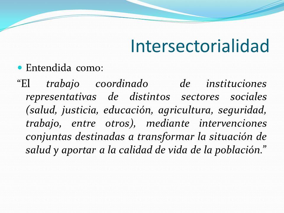 Intersectorialidad Entendida como: