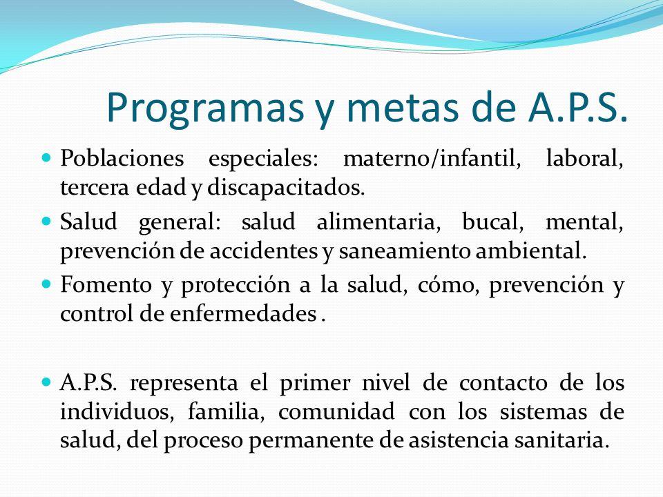 Programas y metas de A.P.S.