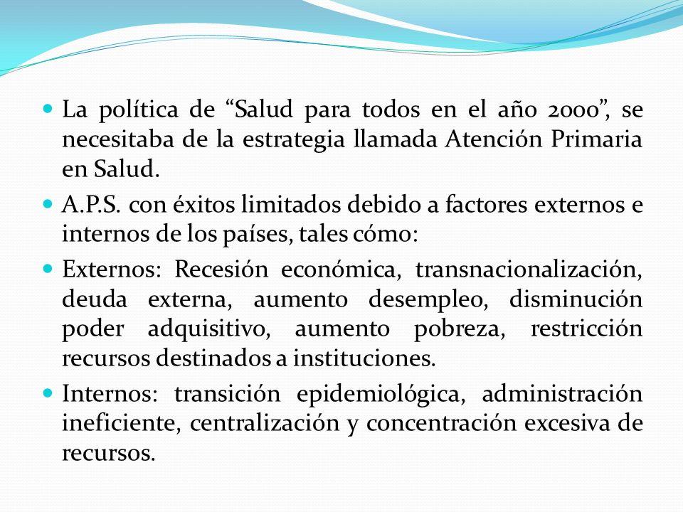 La política de Salud para todos en el año 2ooo , se necesitaba de la estrategia llamada Atención Primaria en Salud.