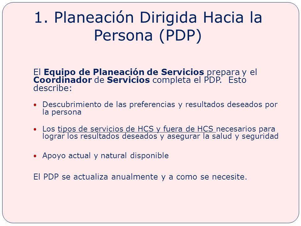 1. Planeación Dirigida Hacia la Persona (PDP)