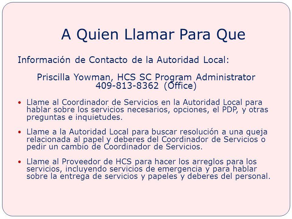 Priscilla Yowman, HCS SC Program Administrator