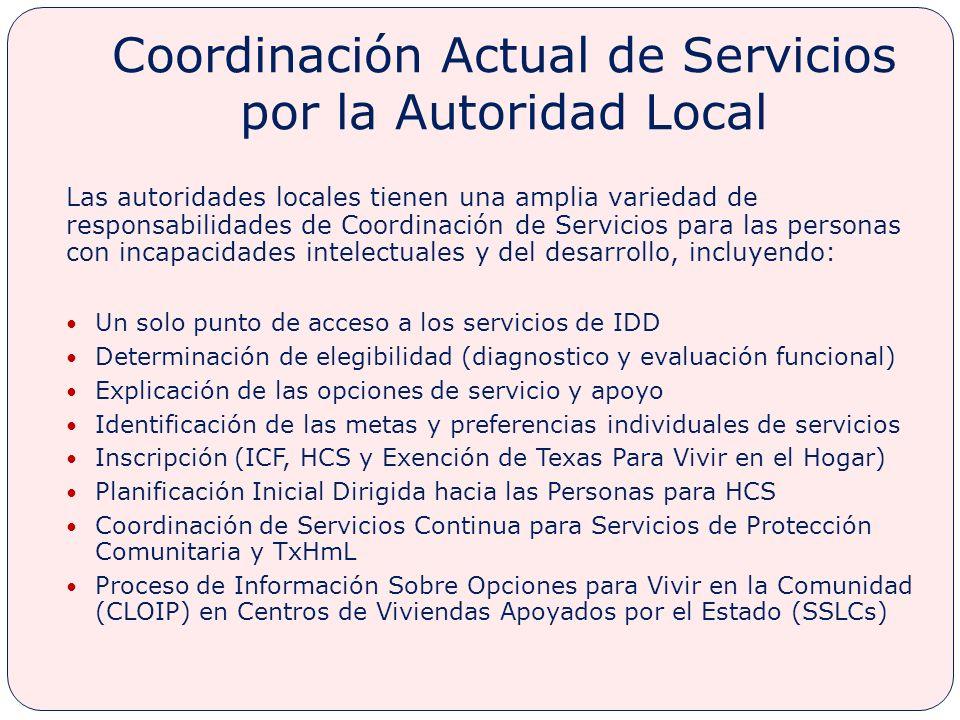 Coordinación Actual de Servicios por la Autoridad Local