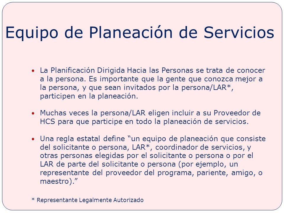 Equipo de Planeación de Servicios
