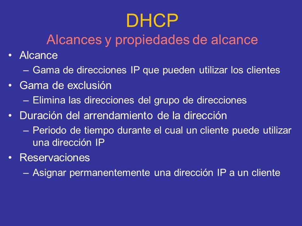 DHCP Alcances y propiedades de alcance