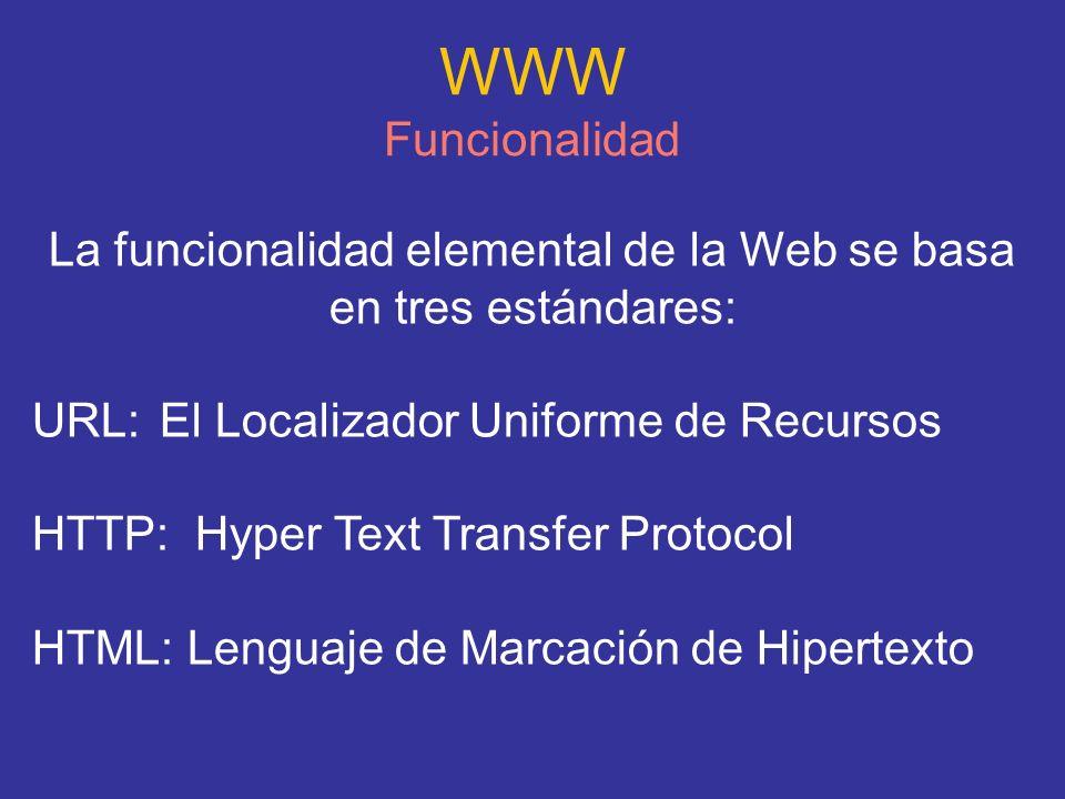 La funcionalidad elemental de la Web se basa en tres estándares: