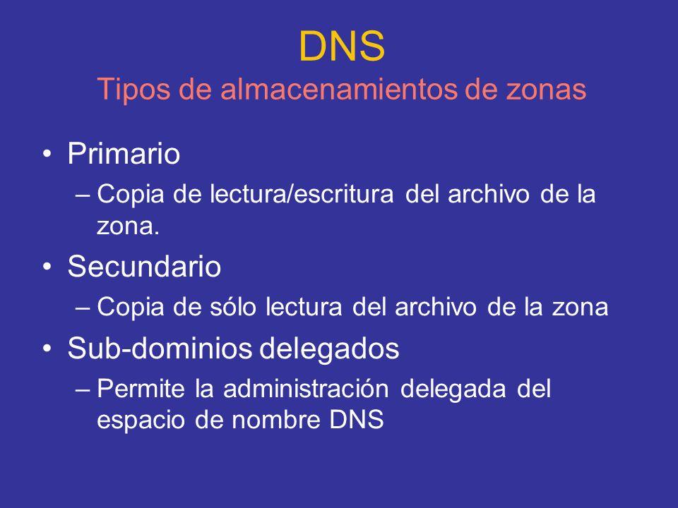 DNS Tipos de almacenamientos de zonas