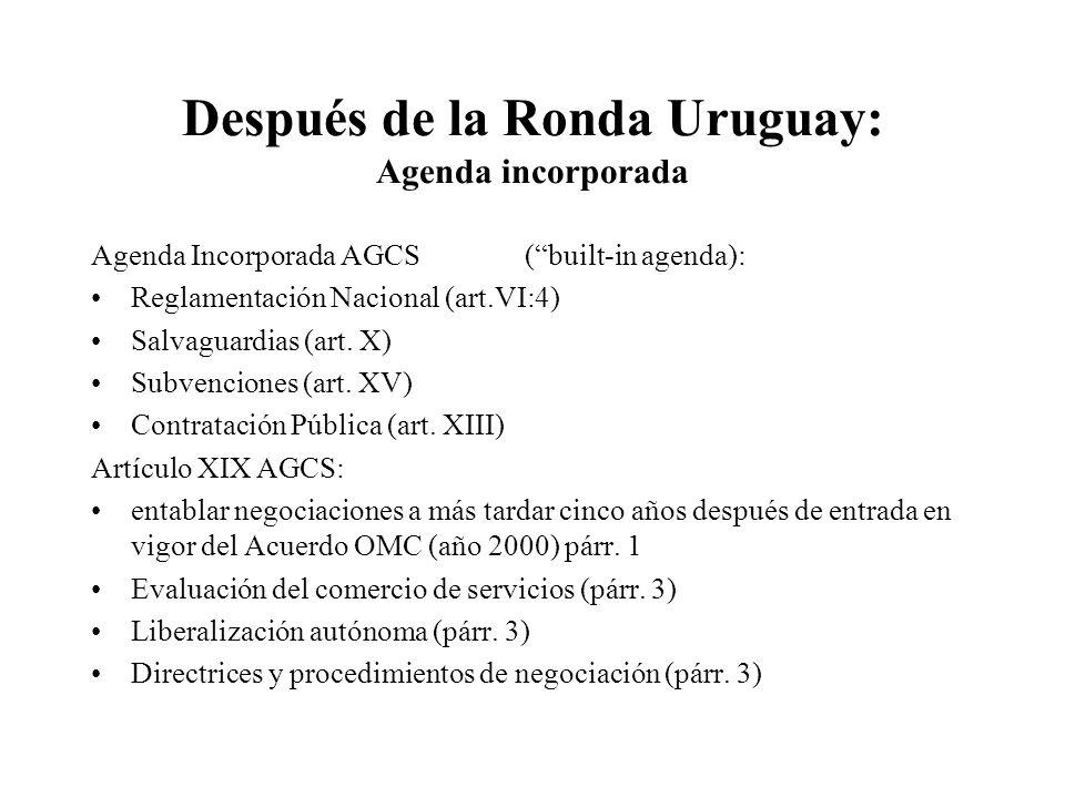 Después de la Ronda Uruguay: Agenda incorporada