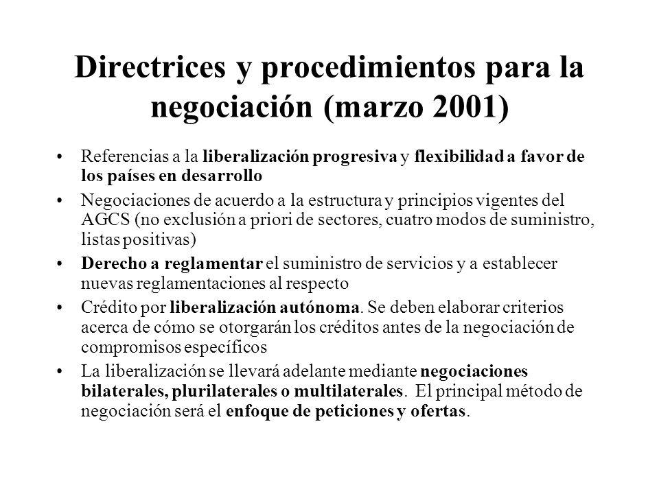 Directrices y procedimientos para la negociación (marzo 2001)
