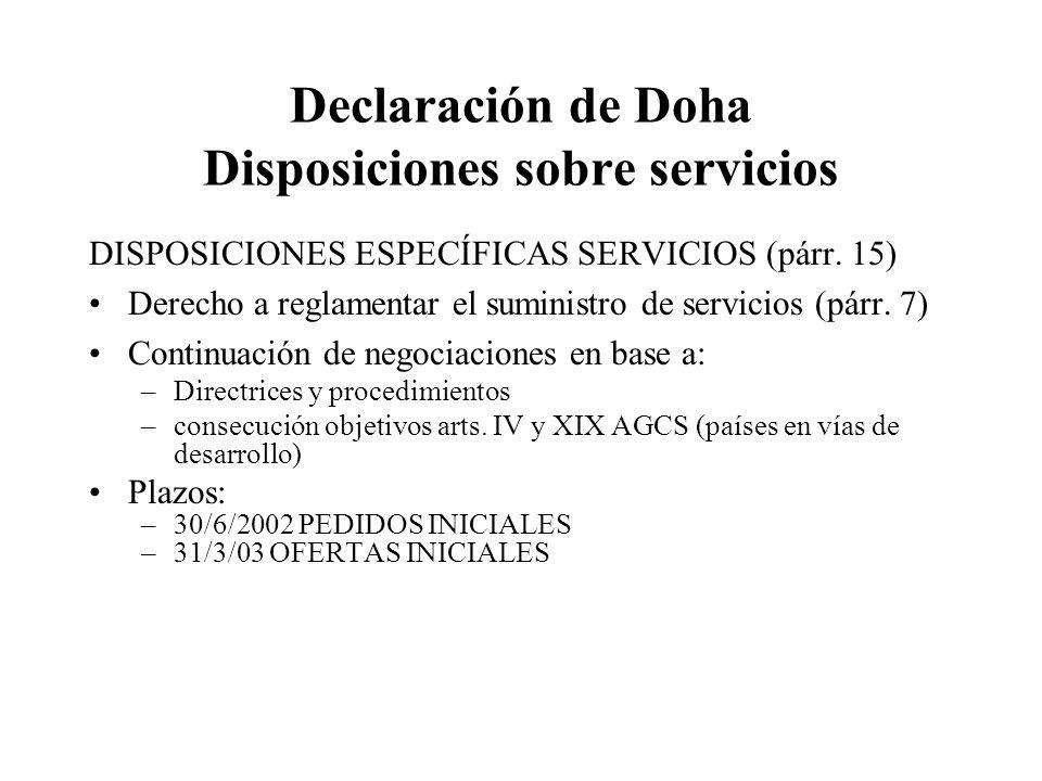 Declaración de Doha Disposiciones sobre servicios