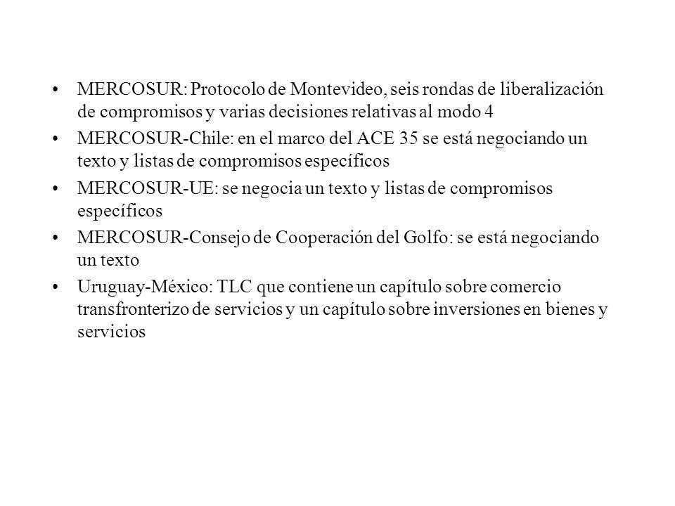 MERCOSUR: Protocolo de Montevideo, seis rondas de liberalización de compromisos y varias decisiones relativas al modo 4