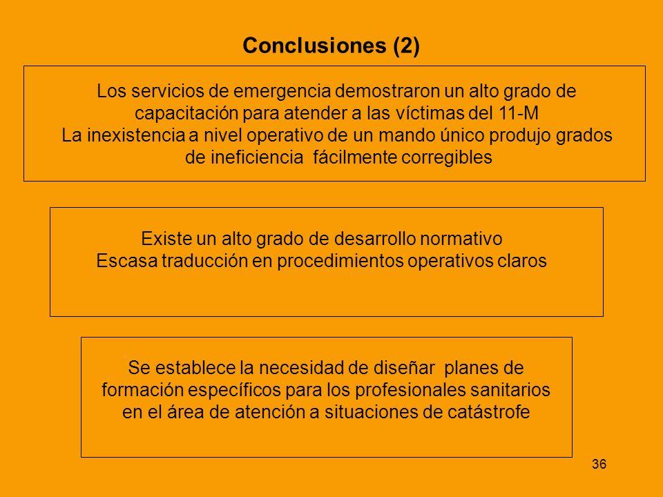 Conclusiones (2) Los servicios de emergencia demostraron un alto grado de. capacitación para atender a las víctimas del 11-M.