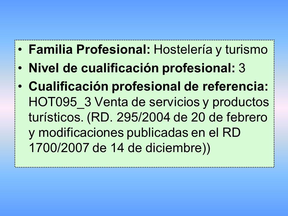 Familia Profesional: Hostelería y turismo