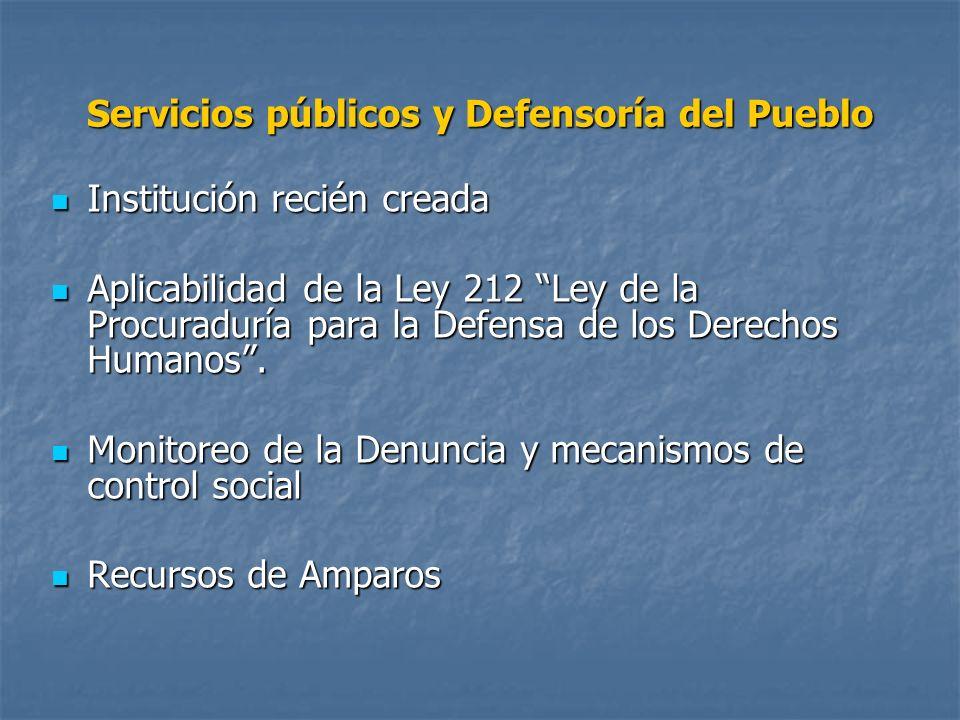 Servicios públicos y Defensoría del Pueblo