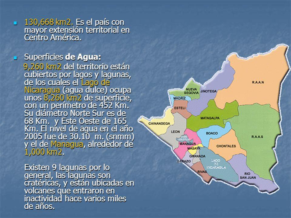 130,668 km2. Es el país con mayor extensión territorial en Centro América.