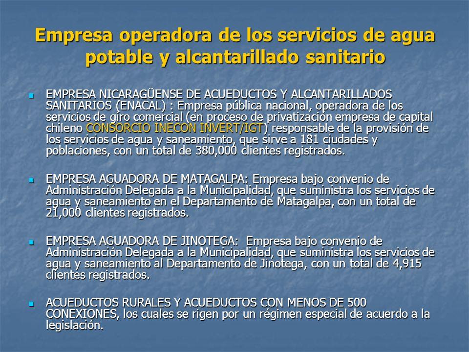 Empresa operadora de los servicios de agua potable y alcantarillado sanitario