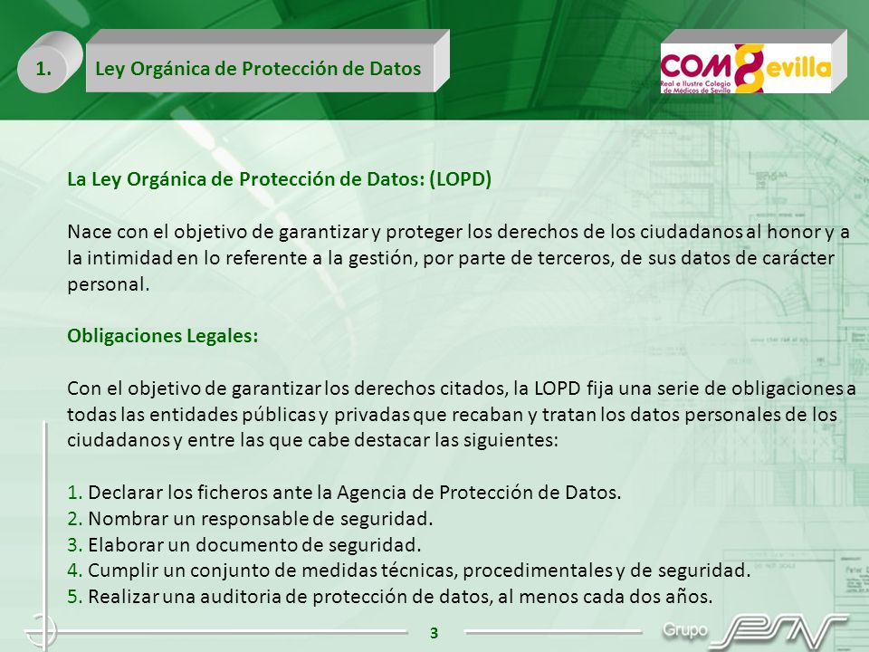 1. Ley Orgánica de Protección de Datos