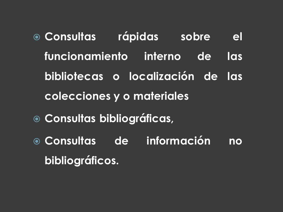 Consultas rápidas sobre el funcionamiento interno de las bibliotecas o localización de las colecciones y o materiales