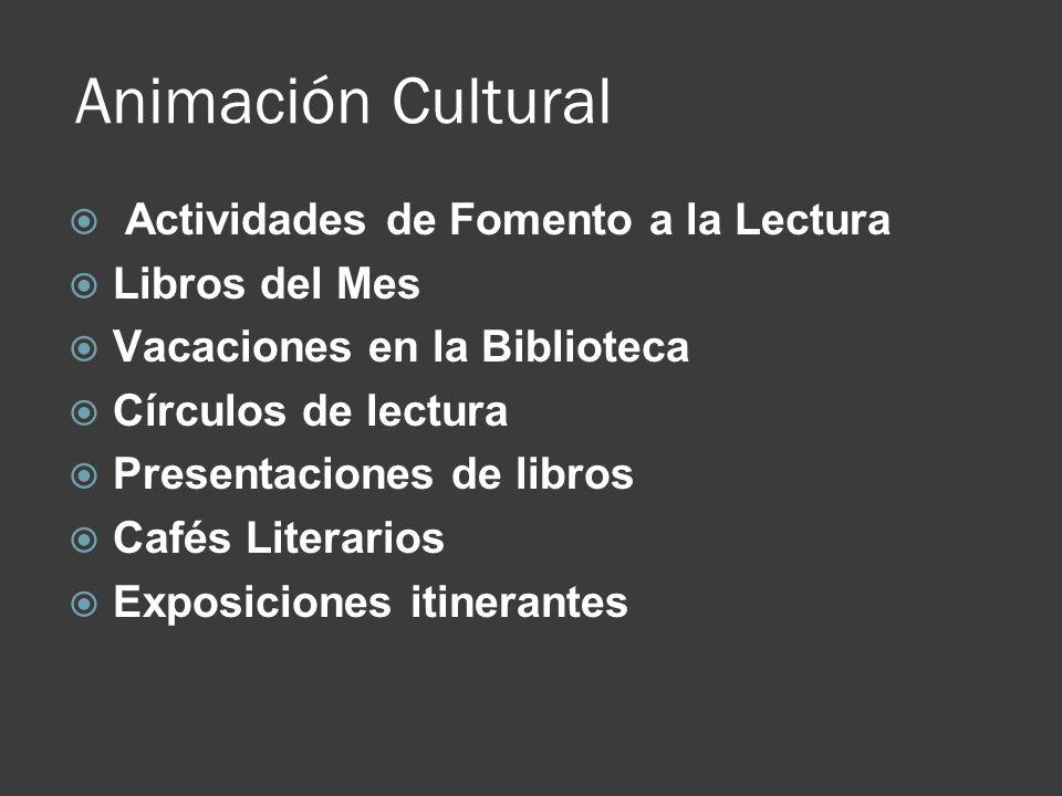Animación Cultural Actividades de Fomento a la Lectura Libros del Mes