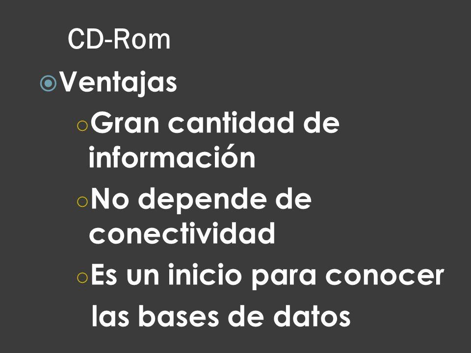 CD-Rom Gran cantidad de información No depende de conectividad