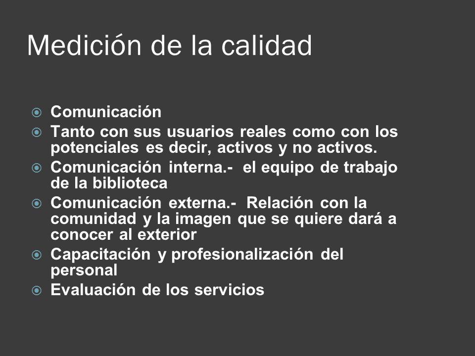 Medición de la calidad Comunicación