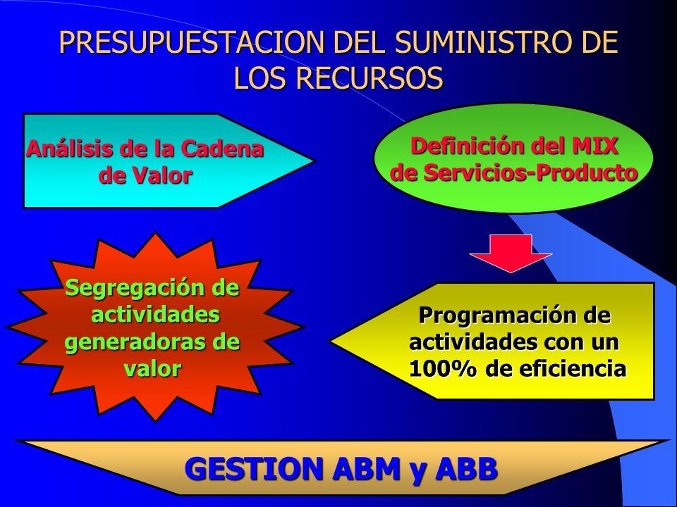 PRESUPUESTACION DEL SUMINISTRO DE LOS RECURSOS