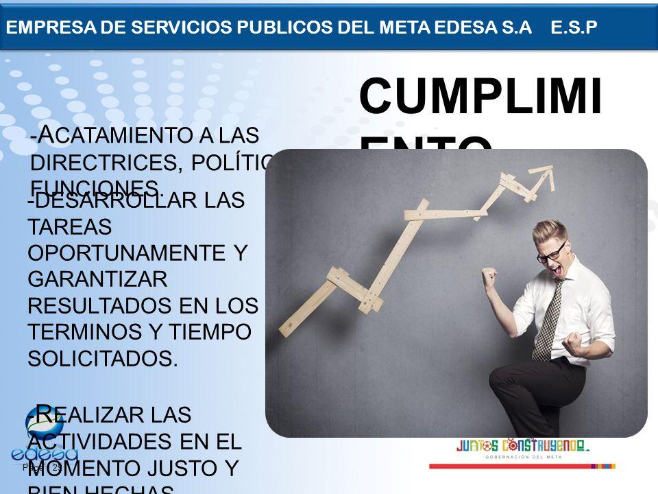 CUMPLIMIENTO -ACATAMIENTO A LAS DIRECTRICES, POLÍTICAS Y FUNCIONES.