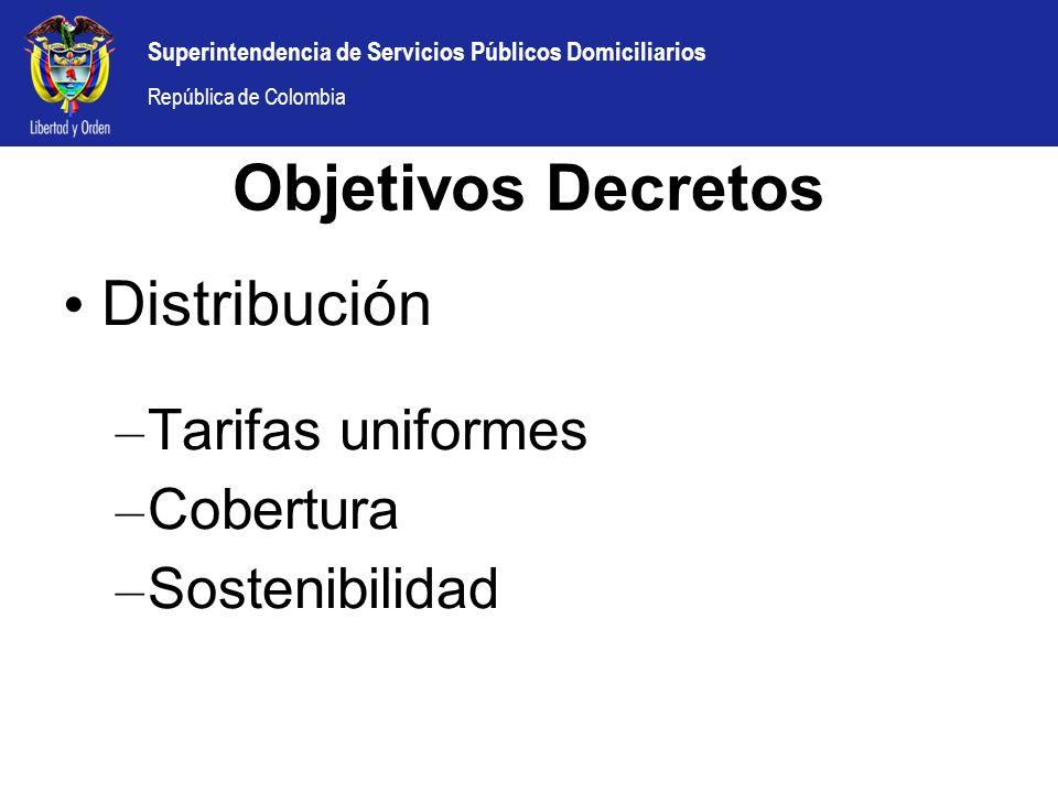 Objetivos Decretos Distribución Tarifas uniformes Cobertura