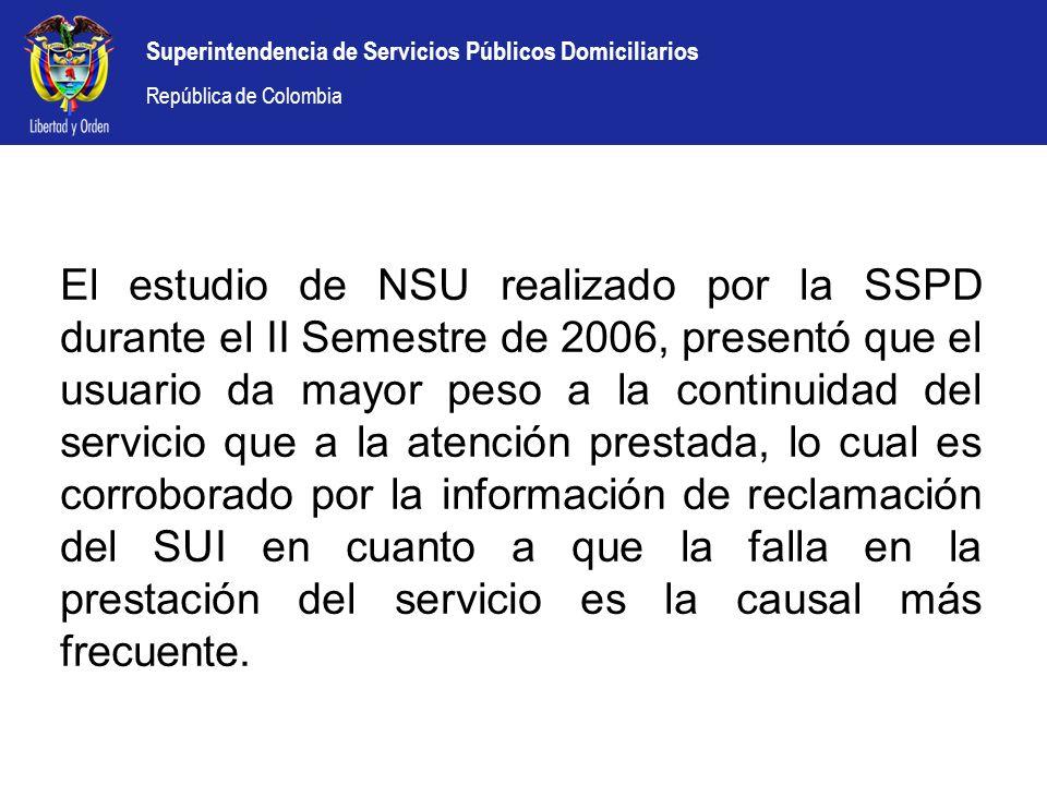 El estudio de NSU realizado por la SSPD durante el II Semestre de 2006, presentó que el usuario da mayor peso a la continuidad del servicio que a la atención prestada, lo cual es corroborado por la información de reclamación del SUI en cuanto a que la falla en la prestación del servicio es la causal más frecuente.