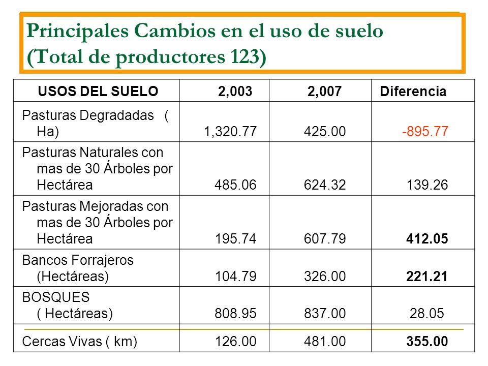 Principales Cambios en el uso de suelo (Total de productores 123)