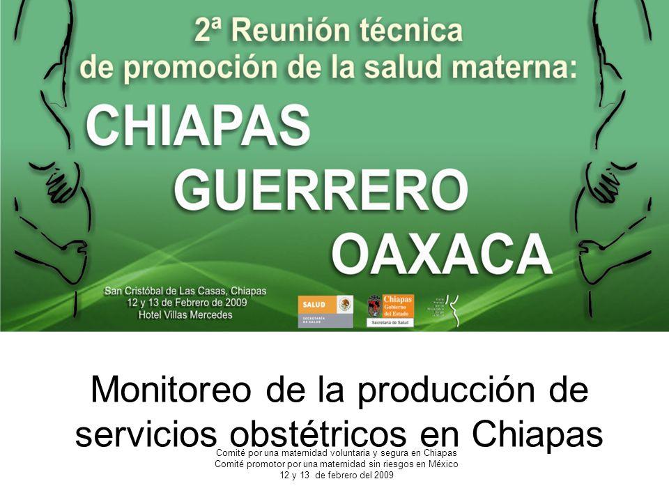 Monitoreo de la producción de servicios obstétricos en Chiapas
