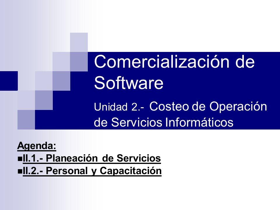 Agenda: II.1.- Planeación de Servicios II.2.- Personal y Capacitación