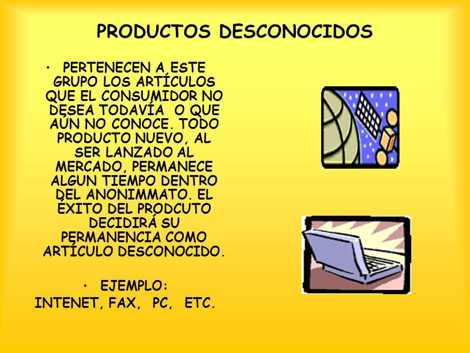 PRODUCTOS DESCONOCIDOS