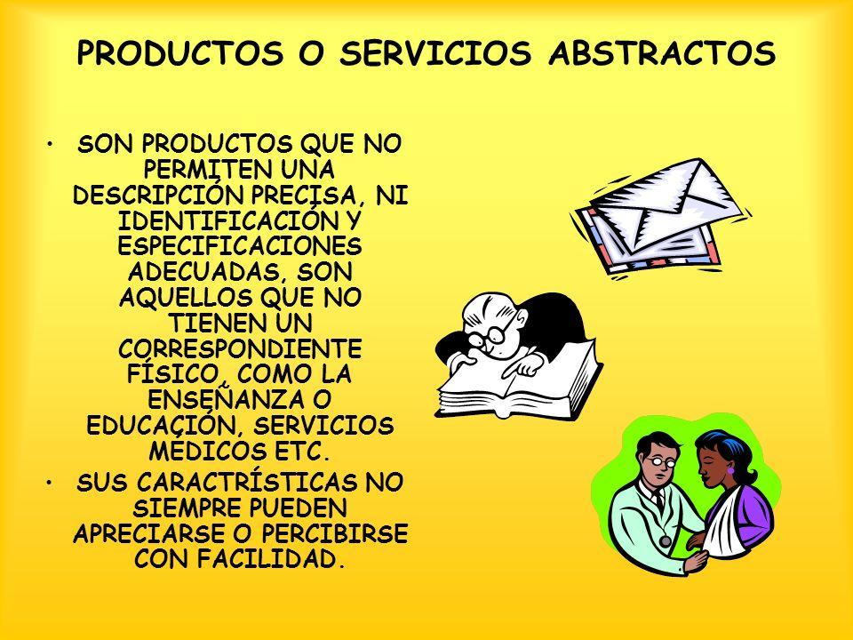 PRODUCTOS O SERVICIOS ABSTRACTOS