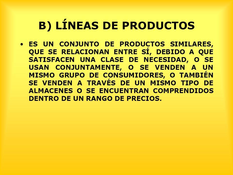 B) LÍNEAS DE PRODUCTOS