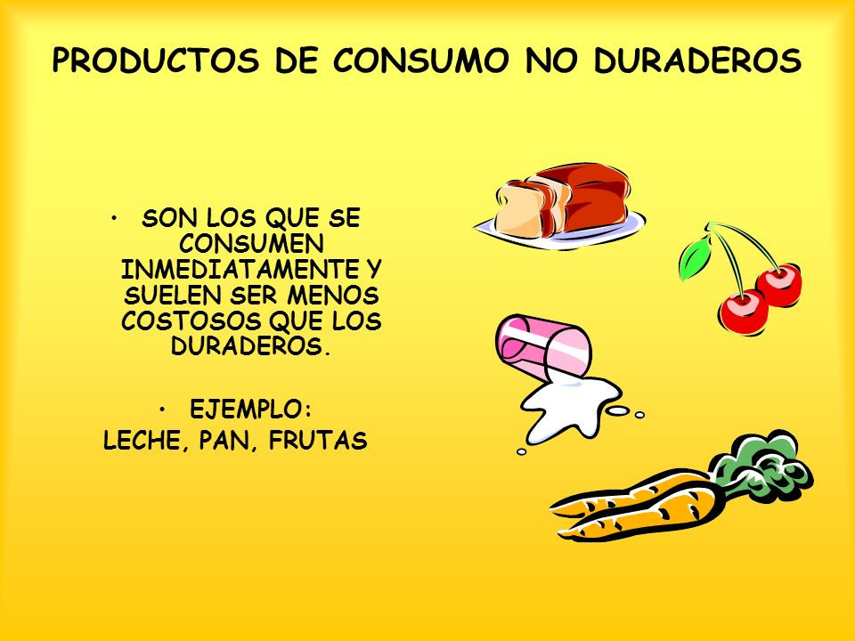 PRODUCTOS DE CONSUMO NO DURADEROS