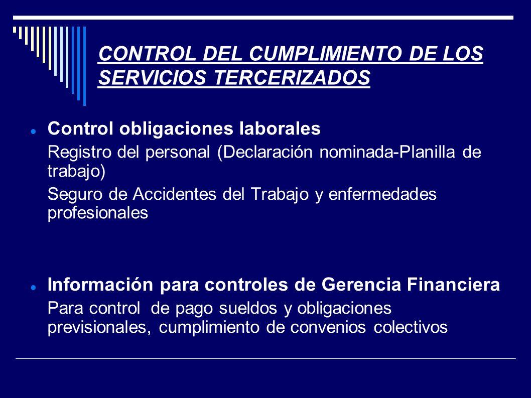 CONTROL DEL CUMPLIMIENTO DE LOS SERVICIOS TERCERIZADOS