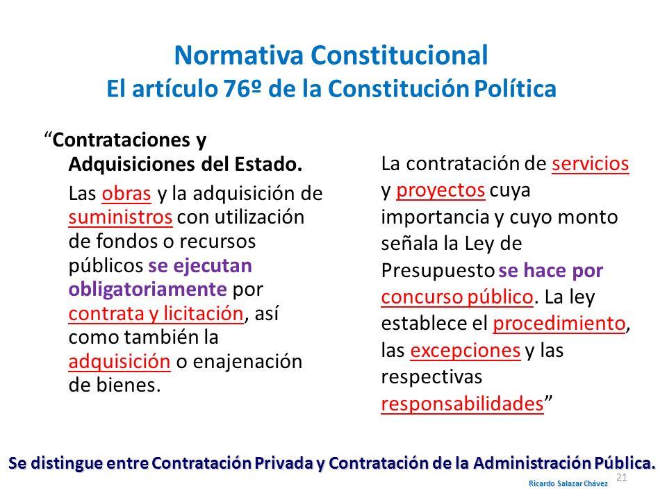 Normativa Constitucional El artículo 76º de la Constitución Política