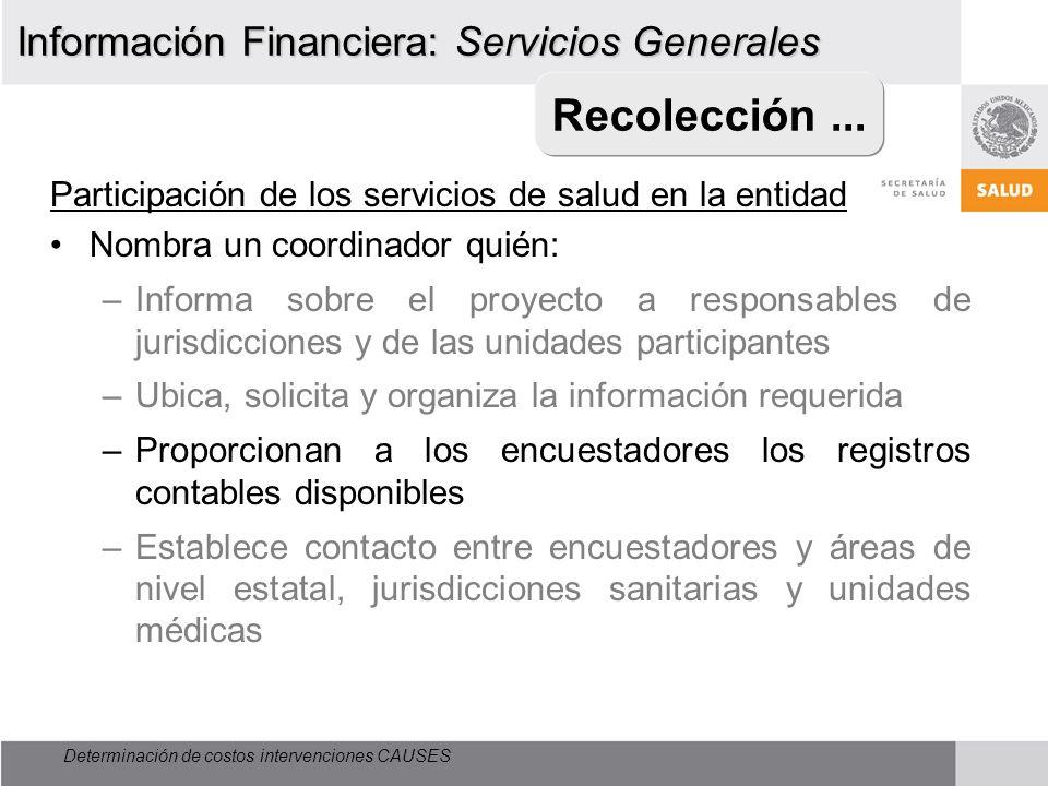 Recolección ... Información Financiera: Servicios Generales