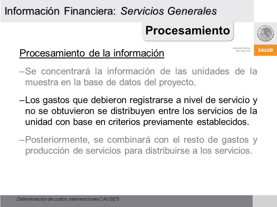 Procesamiento Información Financiera: Servicios Generales