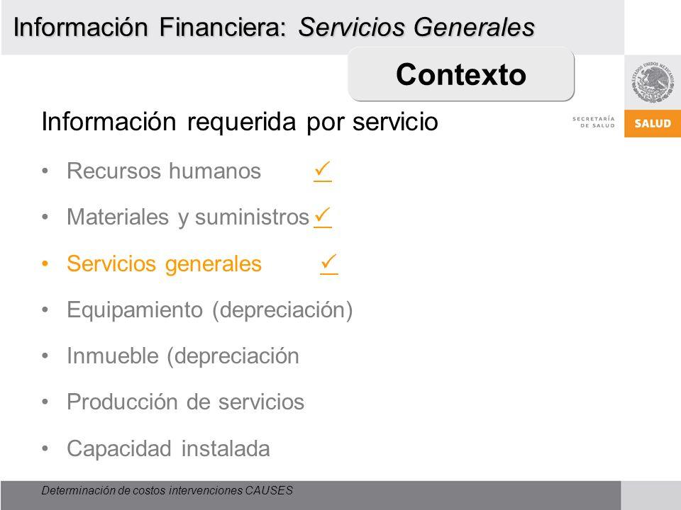 Contexto Información Financiera: Servicios Generales