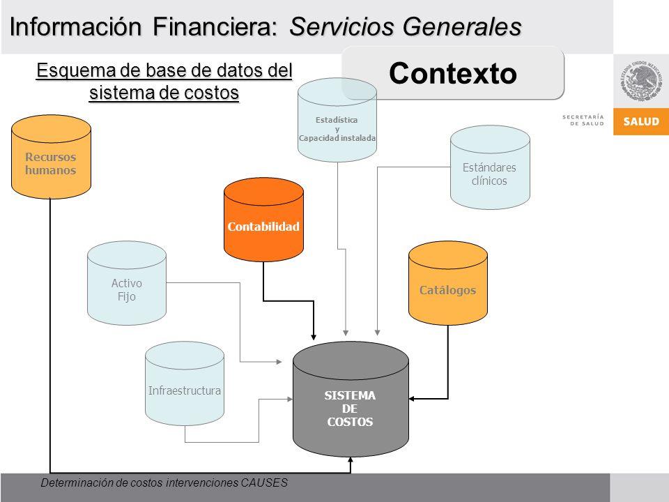Esquema de base de datos del sistema de costos