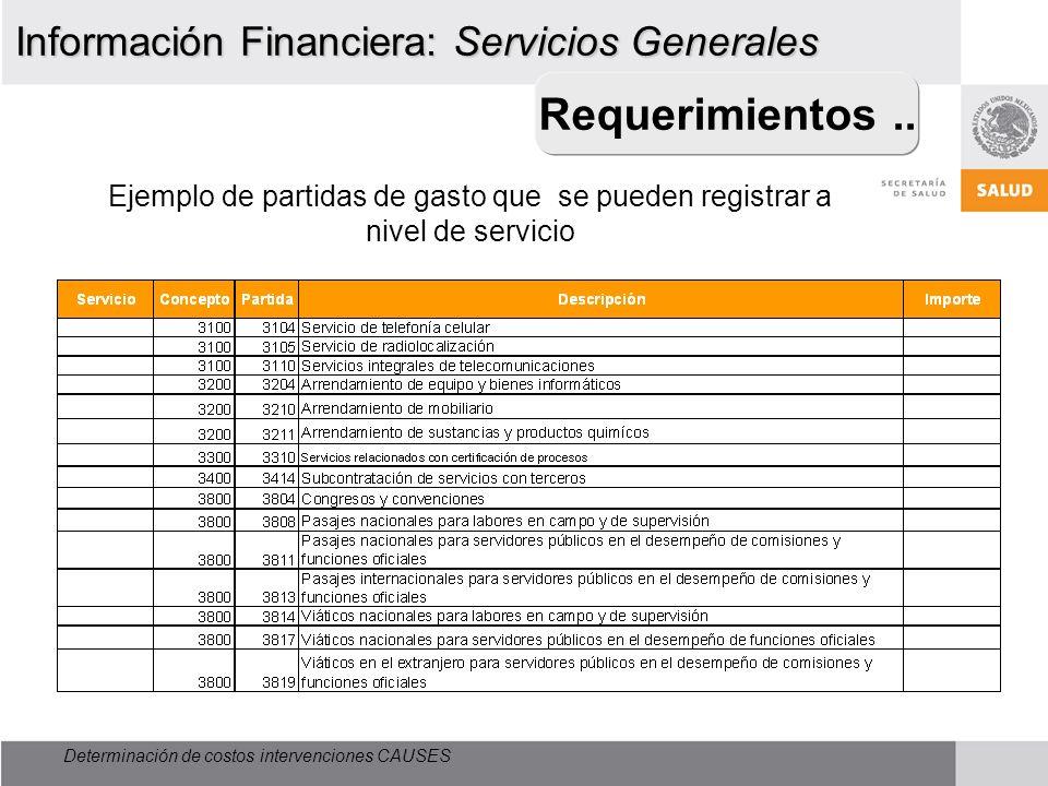 Requerimientos .. Información Financiera: Servicios Generales