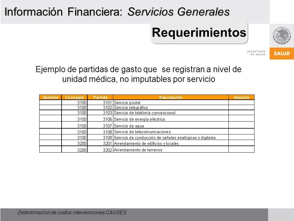 Requerimientos Información Financiera: Servicios Generales