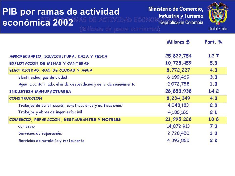 PIB por ramas de actividad económica 2002