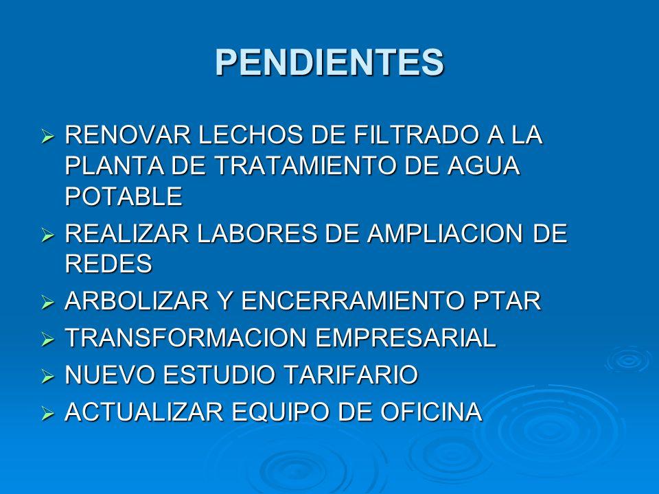 PENDIENTES RENOVAR LECHOS DE FILTRADO A LA PLANTA DE TRATAMIENTO DE AGUA POTABLE. REALIZAR LABORES DE AMPLIACION DE REDES.