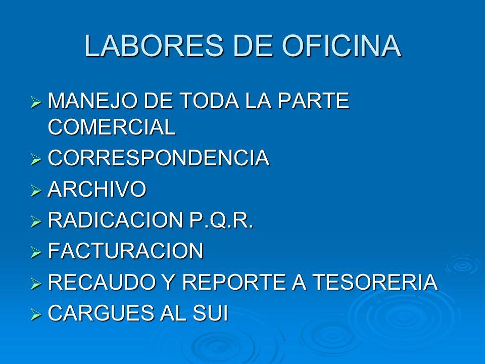 LABORES DE OFICINA MANEJO DE TODA LA PARTE COMERCIAL CORRESPONDENCIA