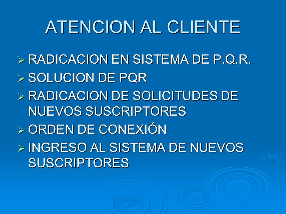 ATENCION AL CLIENTE RADICACION EN SISTEMA DE P.Q.R. SOLUCION DE PQR
