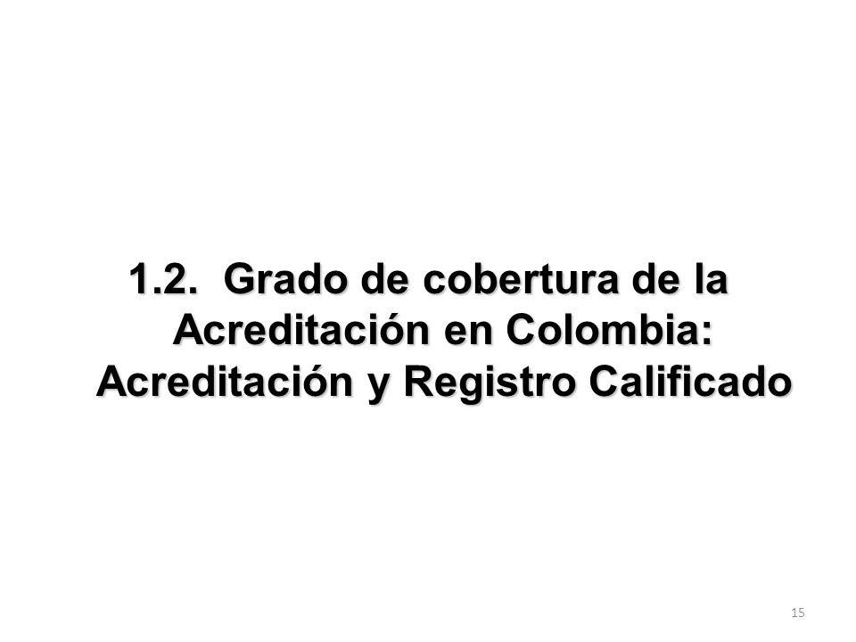 1.2. Grado de cobertura de la Acreditación en Colombia: Acreditación y Registro Calificado