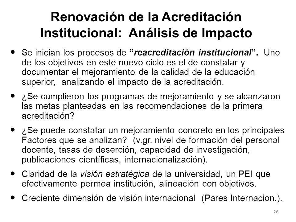 Renovación de la Acreditación Institucional: Análisis de Impacto