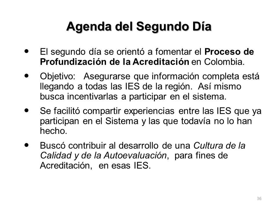 Agenda del Segundo DíaEl segundo día se orientó a fomentar el Proceso de Profundización de la Acreditación en Colombia.